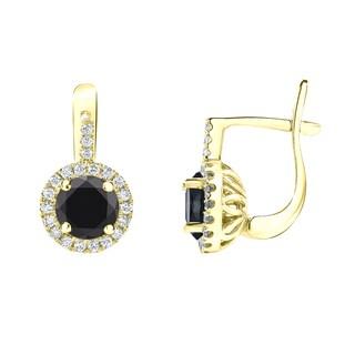 Auriya 14k Gold 2 2/5ct TDW Round Cut Black Diamond Halo Leverback Earrings