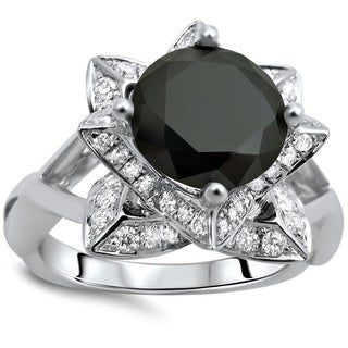 Noori 14k White Gold 2 1/2ct TDW Certified Black and White Lotus Flower Diamond Ring (More options available)
