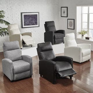 leather living room chairs. Saipan Modern Fabric and Leather Recliner Club Chair iNSPIRE Q Living Room Chairs For Less  Overstock com