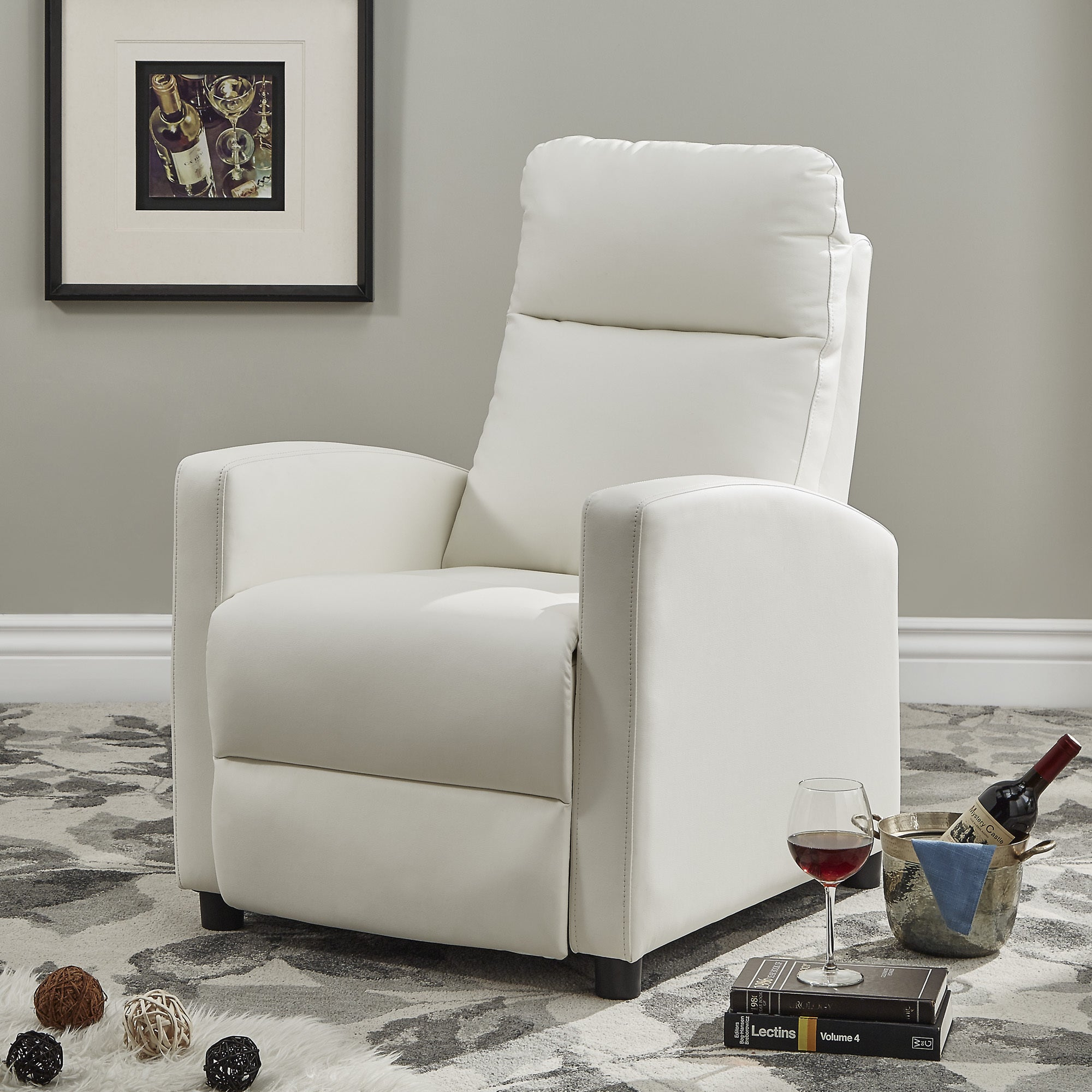 Saipan Modern Fabric And Leather Recliner Club Chair INSPIRE Q Modern  (Option: White Bonded