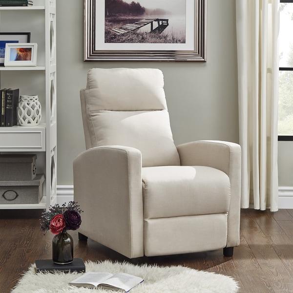 Saipan Modern Fabric And Leather Recliner Club Chair