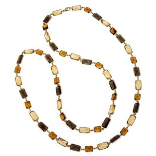 Ever One 18k Yellow Gold Vermeil Smoky Quartz and Citrine 38-inch Long Necklace