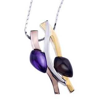 Ever One 18k Tri-tone Gold-plated Silver and Dyed Quartz Pendant Necklace - Purple