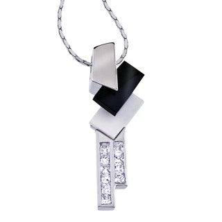 Ever One Silver White Agate/Onyx/Cubic Zirconia Pendant
