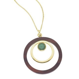 Ever One 18k Yellow Gold Vermeil Rosewood/Aventurine Pendant