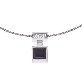 Ever One Sterling Silver White Sapphire and Onyx Pendant Necklace - Black