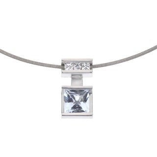 Ever One Sterling Silver White and Blue Topaz Pendant and Chain