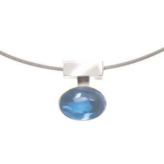Interchangeable Blue Topaz and Silver Pendant