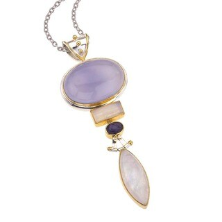 Ever One Silver Pendant with Chalcedony Gemstones