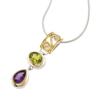 Ever One Sterling Silver, Peridot, and Amethyst Pendant Necklace