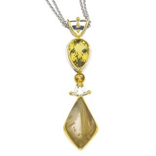 Ever One Sterling Silver Rutilated Quartz and Citrine Pendant Necklace