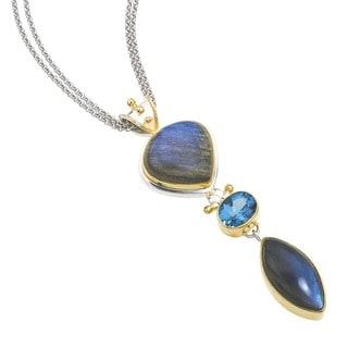 Silver Labradorite & Blue Topaz Pendant