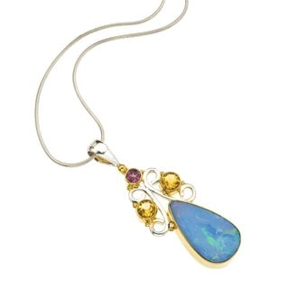 Ever One Silver Opal, Citrine, and Tourmaline Pendant