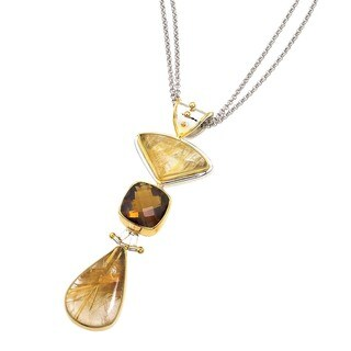 Ever One Sterling Silver/Yellow Gold Vermeil Rutilated/Root Beer Quartz Pendant
