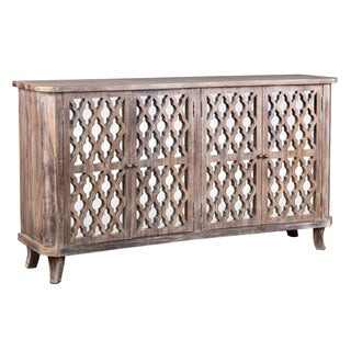 Kosas Home Hand Crafted Trellis Antique White Reclaimed Teak 4 Door Sideboard