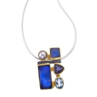 Ever One Women's Sterling Silver Gemstone Pendant Necklace