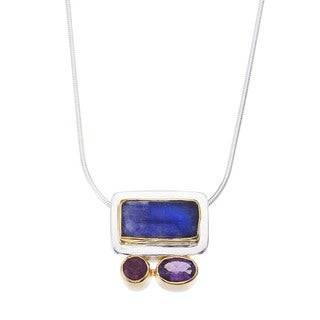 Ever One Sterling Silver Moonstone Amethyst Garnet Gemstone Necklace