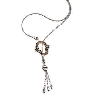 Ever One Oxidized Silver Citrine Hamsa Lariat Necklace