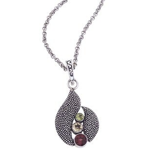 Ever One Oxidized Silver Gemstone Pendant and Chain