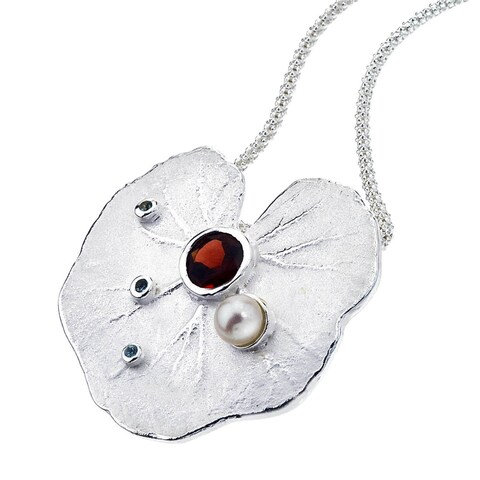 Ever One Sterling Silver Garnet and Pearl Lily Pendant