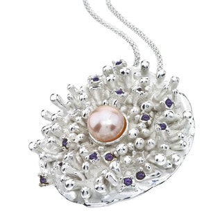 Ever One Sterling Silver Amethyst and Pink Pearl Pendant