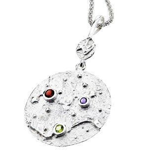 Ever One Women's Small Gemstone Sterling Silver Moon Pendant Necklace