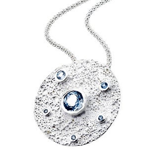 Ever One Sterling Silver and Blue Topaz Moon Pendant