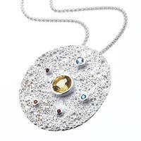 Ever One Sterling Silver Gemstone Moon Pendant