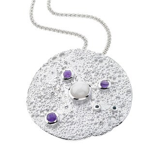 Ever One Sterling Silver Topaz Amethyst Opal Moon Pendant