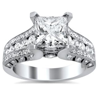 Noori 18k White Gold 2ct TDW Clarity-enhanced Princess-cut Diamond Engagement Ring (G-H, SI1-SI2)