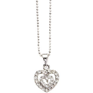 Silvertone Crystal 'Double the Love' Pendant Necklace (Thailand)