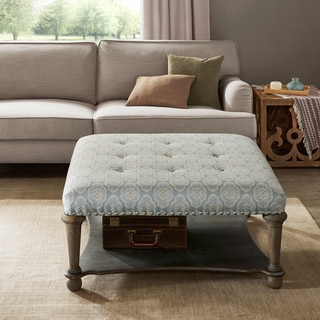 Madison Park Sadie Blue/ Green Square Exposed Wood Cocktail Ottoman