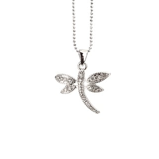 Silvertone Rhodium Crystal Dragonfly Pendant Necklace (Thailand)