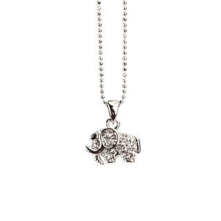 Silvertone Rhodium Crystal 'Ellie the Elephant' Pendant Necklace (Thailand)