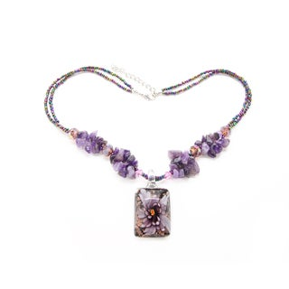 Handmade Purple Amethyst Chip and Italian Glass Flower Square Pendant Necklace (Thailand)