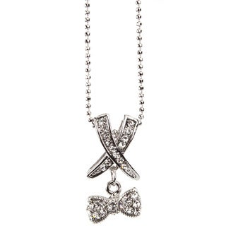 Silvertone Crystal 'X's and Bows' Pendant Necklace (Thailand)