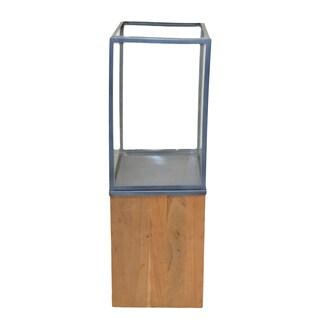 Lignum Et Lapis Zinc/ Stainless Steel and Wood Candleholder