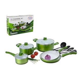 Metallic Green Aluminum Ceramic 12-piece Cookware Set