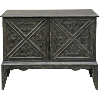 Distressed Charcoal Grey Finish Wood Hand-painted Bar and Wine Cabinet