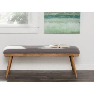 mitchell mid century modern grey linen 48inch bench