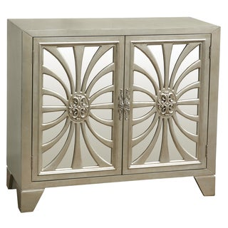 Platinum-finished Wood Hand-painted Distressed Bar and Wine Cabinet