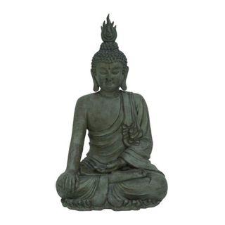Benzara Grey Polystone Buddha Statue