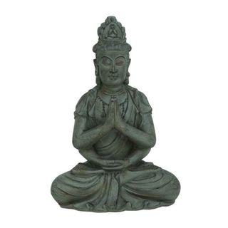 Benzara Grey Polystone 18-inch Wide x 26-inch High Buddha Figurine