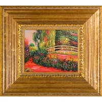 Claude Monet 'The Japanese Bridge' (The Water-Lily Pond, Water Irises) Hand Painted Framed Oil Reproduction on Canvas