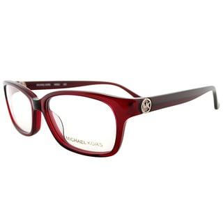 Michael Kors Transparent Red Plastic Rectangle Eyeglasses