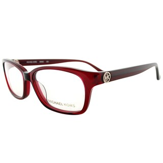 Michael Kors Transparent Red Plastic Rectangle Eyeglasses