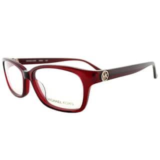 michael kors transparent red plastic rectangle eyeglasses - Michael Kors Eyeglasses Frames