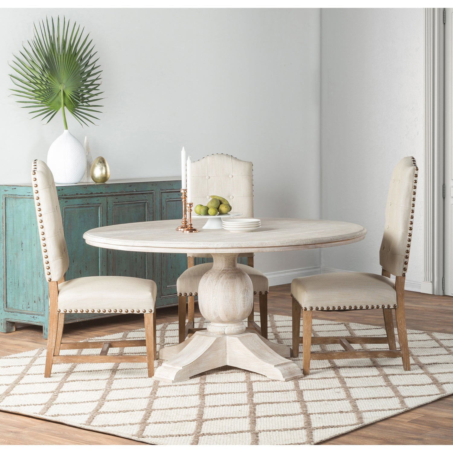 Valencia Wood Antique White 60 Inch Dining Table By Kosas Home Overstock 13433078