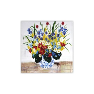 'Floral Vase' Stretched Canvas Wall Art