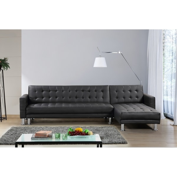 Shop Convertible Leather Sectional Sleeper Sofa - ATTALENS - Free ...